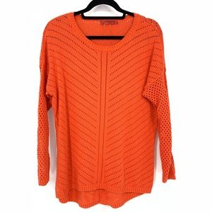 Prana Orange Pullover Perforated Sweater